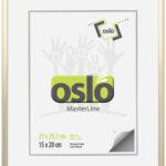 OSLO MasterLine Bilderrahmen 21×29,7 DIN A4 Hell Gold Matt Aluminium Urkundenformat Mit Aufsteller Hoch Querformat Bildgröße 21×30 Alu