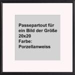 OSLO MasterLine Bilderrahmen/Passepartout 30×30 Schwarz Holz Massiv Quadratisch Schmal Rund Ausschnitt Größe 20×20 Säurefrei, Lichtecht