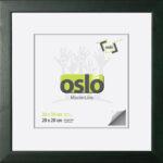 OSLO MasterLine Bilderrahmen 30×30 Quadratisch Dunkel Grün Holz Massiv, Glas, FSC Zertifiziertes Echtholz, 2,4 Cm Breit Holzrahmen