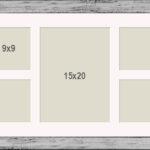 OSLO MasterLine Bilderrahmen/Passepartout 25×70 Silber Holz Massiv, Echt Glas Mit 9 Unterschiedlichen Ausschnitten Für Collagen