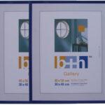3 Stück Bilderrahmen 40 X 50 Puzzle Rahmen Blau Metallic Hochwertiger Kunststoff, Echt Glas Patentiertes Aufhängesystem Rahmen