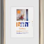 OSLO MasterLine Bilderrahmen 24×30 Gold Golden Kunststoff Innenrand Goldene Glänzend Echt Glas Portrait Rahmen