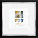 OSLO MasterLine Bilderrahmen/Passepartout 30 X 30 Quadratisch Schwarz Silber Kunststoff Glas Foto Collagen Säurefrei, Lichtecht